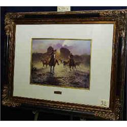 """1 PRINT-JACK TERRY """"RUSTLING SIGNED OPEN EDITION X 24""""..."""