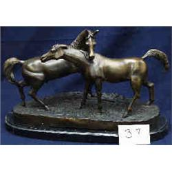 """1 BRONZE-TWO HORSES. 18""""W X 12""""H ADDED MARBLE BASE...."""