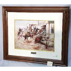 """A 1 PRINT-CHARLES RUSSELL 15""""X21"""" WITHOUT KNOCKING""""..."""