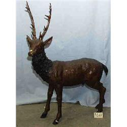 """A 1 BRONZE STANDING STAG.41""""H,30""""L..."""