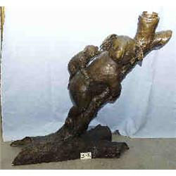 """B 1 BRONZE BEAR AND CUB ON TREE END OF TRUNK IS LIGHT. 40""""H...."""