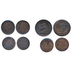 Breton-532. LC-13B. Half Penny. 1841. Canada. CCCS VF-30; Breton-563. LC-17A1. Francis Mullins. (182