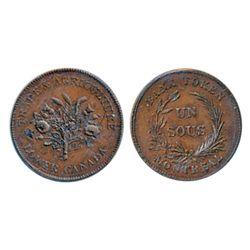 Breton-713. LC-2A2. Un Sou. ICCS Mint State-60. Brown.