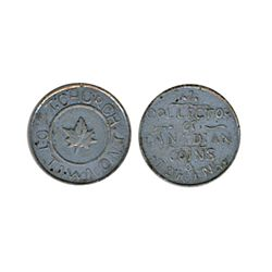 Thomas Church Token. Bow. 1-23. White metal. Plain edge. Thick. 8.0 gms. Unc.