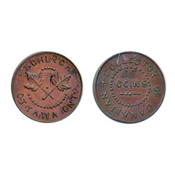 Thomas Church Token. Bow. 5-33. Copper. Plain edge. Thick. 13.4 gms. Unc. Brown.