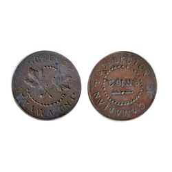 Thomas Church Token. Bow. 5-34. Copper. Plain edge. Thin. 7.1 gms. Unc. Lustrous Brown. Eight exampl