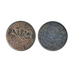 Thomas Church Token. Bow. 6-25. Copper. Reeded edge. Medium thick. 8.0 gms. Unc. 50% lustre.