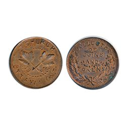Thomas Church Token. Bow. 6-25. Copper. Reeded edge. Thin. 6.9 gms. Unc. 60% lustre.