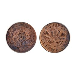 Thomas Church Token. Bow. 6-34. Copper. Plain edge. Thick. 10.6 gms. Unc. 60% lustre.