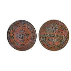 Thomas Church Token. Bow. 7-24. Copper. Plain edge. Thin. 7.3 gms. AU. Brown.