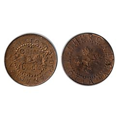 Thomas Church Token. Bow. 8-27. Copper. Plain edge. Thin. 4.5 gms. Unc. 70% lustre.