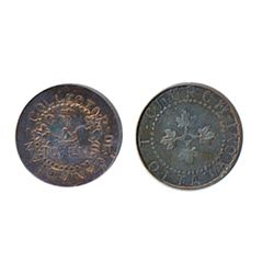 Thomas Church Token. Bow. 8-27. Copper. Plain edge. Thin. 5.1 gms. Unc. 25% lustre.