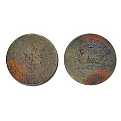 Thomas Church Token. Bow. 8-27. Copper. Plain edge. Medium thick. 7.0 gms. 20% lustre. Some heavy to