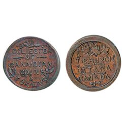 Thomas Church Token. Bow. 13-24. Copper. Plain edge. Thick. 12.8 gms. Unc. Brown.