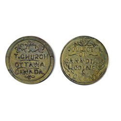 Thomas Church Token. Bow. 13-24. Brass. Plain edge. Thin. 6.4 gms. Unc. 20% lustre. (10 struck).