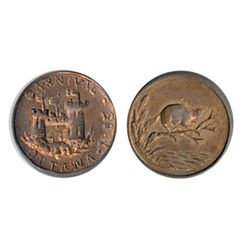 Thomas Church Token. Bow. 14-50. Copper. Plain edge. Thin. 10.8 gms. Unc. 70% lustre.