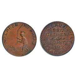 Thomas Church Token. Bow. 38-45. Copper. Plain edge. Thick. 12.9 gms. Unc. Brown.