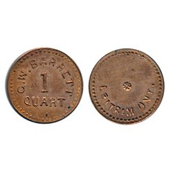 Thomas Church Token. Bow. 53-54. Brass. Plain edge. Thin. 8.6 gms. Unc. 60% lustre. Only three examp