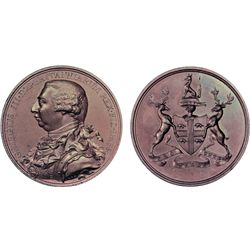 HUDSON'S BAY COMPANY INDIAN CHIEF MEDAL. (1820). A later issue, as determined by the extension of a