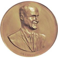 An extremely rare gold numismatic medal. Obv: Bust of Leo Meloche in high relief, facing right. D. L