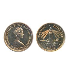 BAHAMAS. $20.00 Dollars. 1972. KM#35. Proof. 1950 AGW.