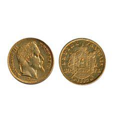 FRANCE. 20 Francs. 1862BB. KM#801.1 Extra Fine.