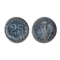 ITALY. 25 Centimes. 1903-R. KM#36. AU-50. A scarce minor.