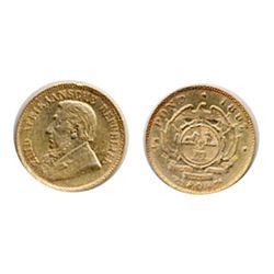 SOUTH AFRICA, 1/2 Pond. 1897. KM#9.2 Gold. .1176 oz. AGW. EF.