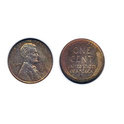 Lincoln Cent. 1909-S. VDB. ANACS graded Mint State-64. Red-Brown. 50% red lustre remaining.