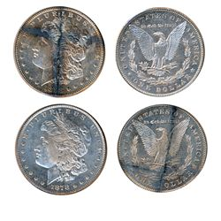 $1.00. Morgan type. 1878. 7 Feathers. Mint State-63; 1898. Mint State-63. Both dollars are brilliant