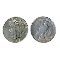 $1.00. Peace type. 1928-P. AU-55. Brilliant. A scarcer date.