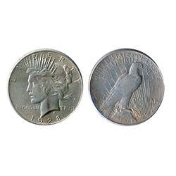 $1.00. Peace type. 1928-P. AU-55. Brilliant. A scarcer date.