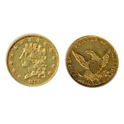 $2 1/2 Dollar Gold. Classic Head. 1836. Very Fine-25. Orange lustre.