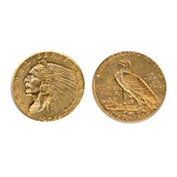 $2 1/2 Dollar Gold. 1909. Extra Fine-40. Orange lustre.