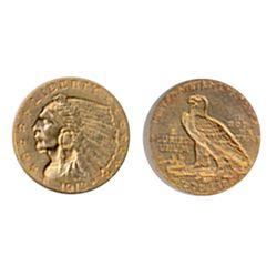 $2 1/2 Dollar Gold. Indian Head. 1913. Extra Fine-40.