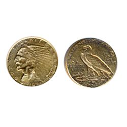 $2 1/2 Dollar Gold. Indian Head. Very Fine-30. Mounted at top & lightly polished.