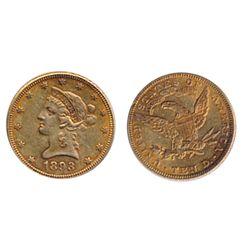 $10.00 Gold. 1893. Liberty type. Very Fine-30.