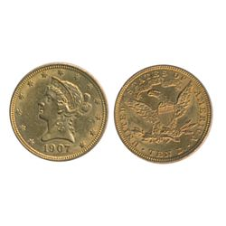 $10.00 Gold. 1907. Liberty type. Extra Fine-45.
