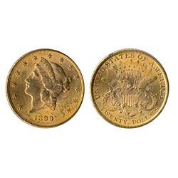 $20.00 Gold. Liberty type. Unc-60. Brilliant yellow lustre. Ex. Canadian Coinisseur, Feb. 24-25, 200