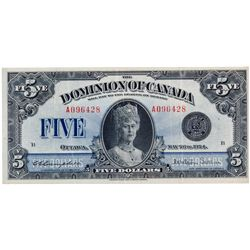 $5.00. May 26, 1924. DC-27. No. A096428/B. PMG graded Very Fine-30. The popular 'Queen Mary' note.
