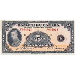 $5.00. 1935 Issue. BC-6. French Text. No. F034923/D. PCGS graded About New-50. Bright, crisp and vib