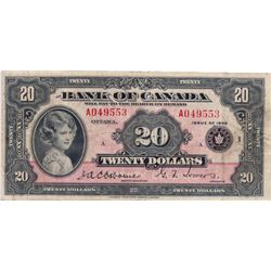 $20.00. 1935 Issue. BC-9a. English Text. Large Seal. No. A049553/A. PMG graded Very Fine-25.