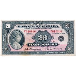 $20.00. 1935 Issue. BC-10. French Text. No. F010866/C. PCGS graded Very Fine-25. A great note, with