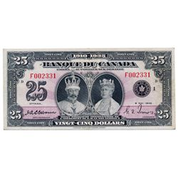 $25.00. 1935 Issue. BC-12. French Text. No. F002331/D. PMG graded Very Fine-30. A rare and popular F