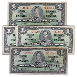 $1.00. 1937 Issue. BC-21a. Osborne-Towers. VG. (5 pcs.); Fine. (1 pc.); BC-21b. Gordon-Towers. Narro