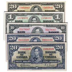 $1.00. 1937 Issue. BC-21d. No. T/N1746192. VF; $10.00. 1937 Issue. BC-24b. No. R/D5179347. AU; $20.0