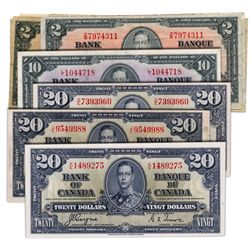 $2.00. 1937 Issue. BC-22b. Gordon. VG or better. (5 pcs.); BC-22c. Coyne. VG or better. (3 pcs.); $1