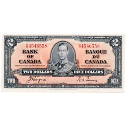 $2.00. 1937 Issue. BC-22c. Coyne-Towers. No. K/R4546558. A Choice Uncirculated note, with excellent