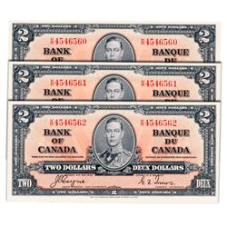 $2.00. 1937 Issue. BC-22c. Coyne-Towers. No. K/R4546560, 561, 562. Three (3) Choice Uncirculated not