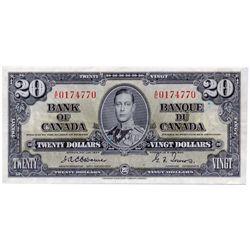 $20.00. 1937 Issue. BC-25a. Osborne. No. A/E0174770. Fine+.